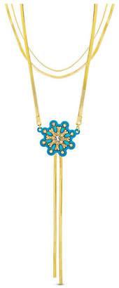 Kensie Women Rhinestone Flower Design Triple Layered Lariat Style Herringbone Chain Necklace