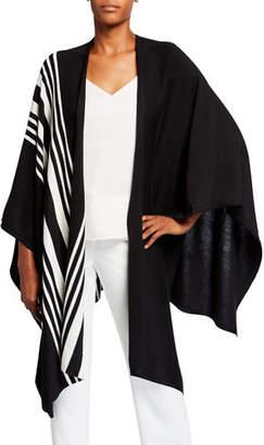 Joan Vass Plus Size Striped Poncho Wrap