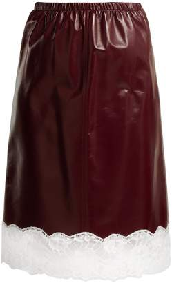 Calvin Klein Lace-trimmed leather midi skirt