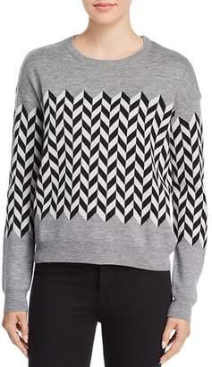 Minnie Rose Chevron Merino Wool Sweater