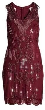 Aidan Mattox Sleeveless Beaded Fringe Cocktail Dress