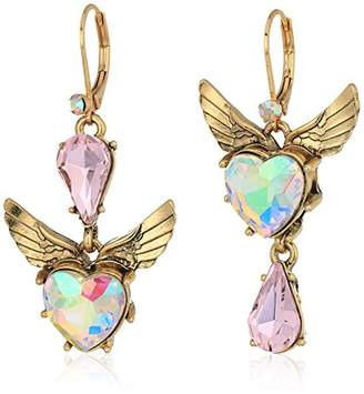 Betsey Johnson Heart and Wing Mismatch Drop Earrings