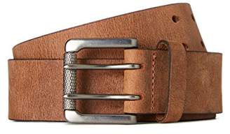 FIND Men's Belt in Distressed Leather and Double Fastener,Large
