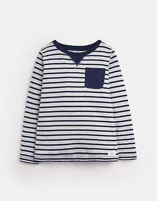 Long Sleeve Pocket Tee in FRENCH NAVY AND GREEN STRIPE