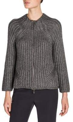 Giorgio Armani Metallic Three-Quarter Sleeve Cardigan