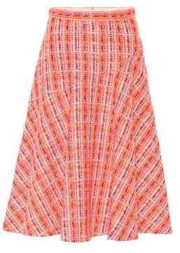 DELPOZO Cotton-blend bouclé midi skirt