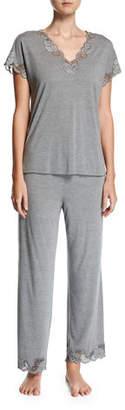 Natori Plus Size Zen Floral-Trim Pajamas