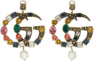 Gold and Pearl Oversized Multicolor Crystal GG Clip-On Earrings