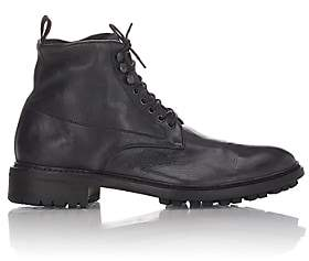 Barneys New York Men's Washed Leather Boots-Black