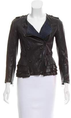 3.1 Phillip Lim Leather Ruffle-Accented Jacket