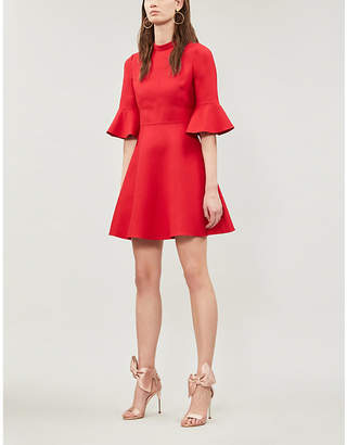 Valentino Bell-sleeve wool and silk-blend crepe dress