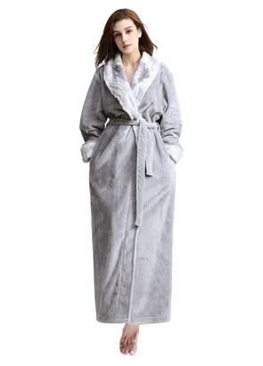 74696cd715 at Amazon Canada · Artfasion Womens Robes Soft Plush Warm Flannel Spa Thick  Long Full Length Bathrobe Ladies Winter Sleepwear