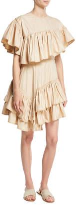 3.1 Phillip Lim Asymmetric Ruffled Cotton Dress