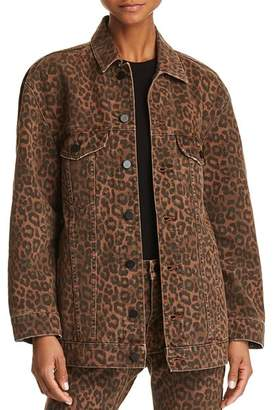 Alexander Wang alexanderwang.t Daze Oversize Denim Jacket in Tan Leopard