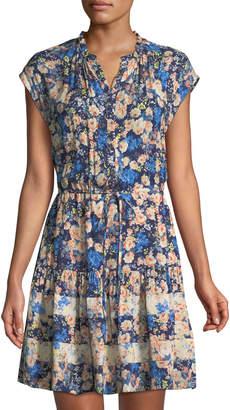 Rebecca Taylor Gigi Floral-Challis Short-Sleeve Shirtdress