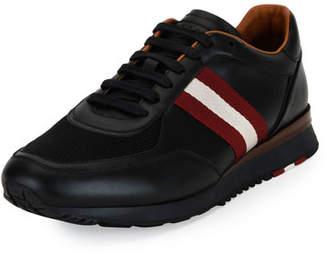 Bally Men's Leather Trainer Sneakers w/Trainspotting Stripe, Black