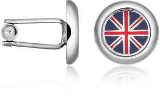Forzieri Union Jack Flag Silver Plated Round Cuff links