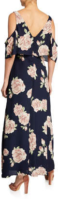 Dex Floral-Print Cold-Shoulder A-Line Dress