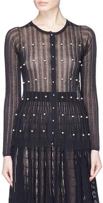 Sonia Rykiel Mother-of-pearl embellished picot knit cardigan