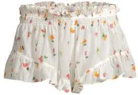 Caroline Constas Floral Ruffle Trim Shorts