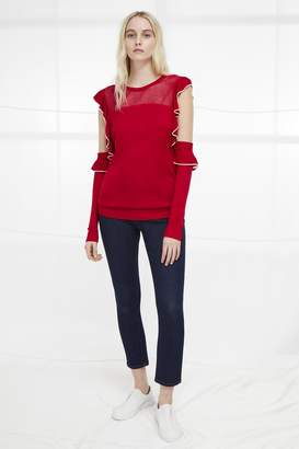 French Connection Lois Frill Cold Shoulder Jumper