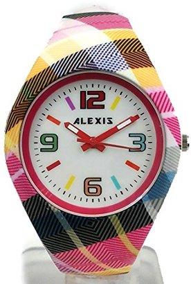 Alexis 10FW976I ラウンドマゼンタ時計ケースシリコンマゼンタバンドレディース女性ファッションウォッチ