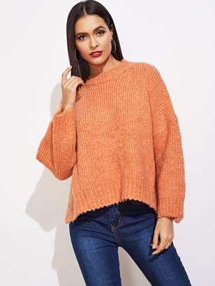3c20936d561 Shein Drop Shoulder Slit Hem Sweater