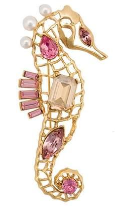 Oscar de la Renta seahorse crystal brooch