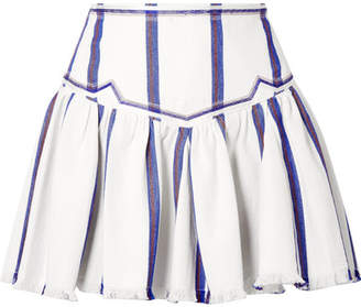 Etoile Isabel Marant Delia Embroidered Striped Woven Cotton Mini Skirt - White