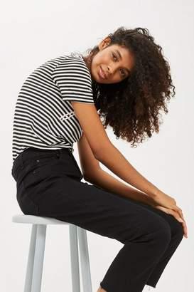 Topshop Petite Black Raw Hem Cropped Jeans