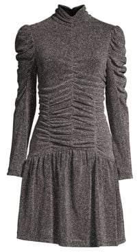 Rebecca Taylor Long-Sleeve Ruched Metallic Dress