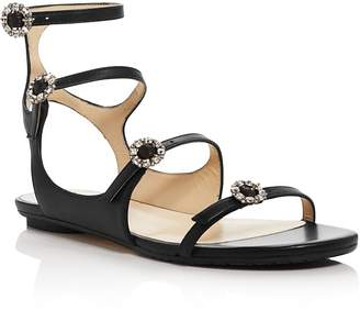 Jimmy Choo Women's Naia Embellished Leather Flat Sandals