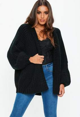 Missguided Black Oversized Batwing Cable Knit Cardigan
