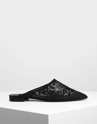 Charles & Keith Floral Embroidery Mesh Slip Ons