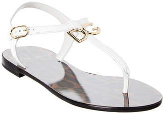 Dolce & Gabbana Logo Leather Thong Sandal