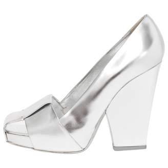 Saint Laurent Silver Leather Heels