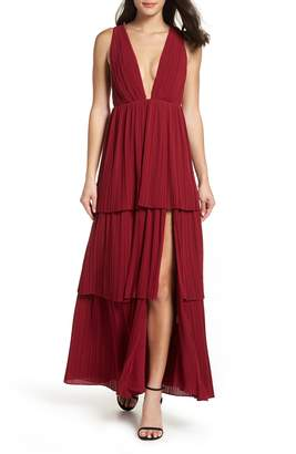 Fame & Partners The Callie Pleat Tiered Gown