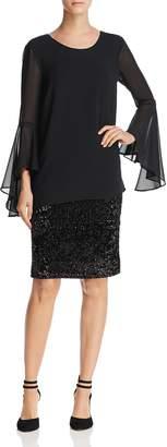 Nic+Zoe Dress Chiffon-Overlay Dress