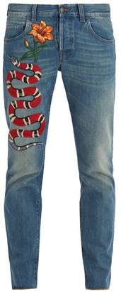 Gucci - Snake And Flower Embroidered Tapered Leg Jeans - Mens - Blue