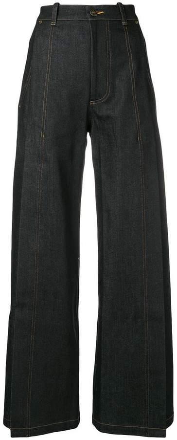Vaquera wide-leg slit jeans