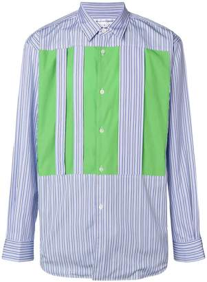 Comme des Garcons contrast panel striped shirt