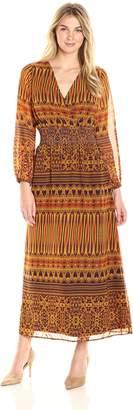 James & Erin Women's Peasant Sleeve Deep Vneck Maxi Dress