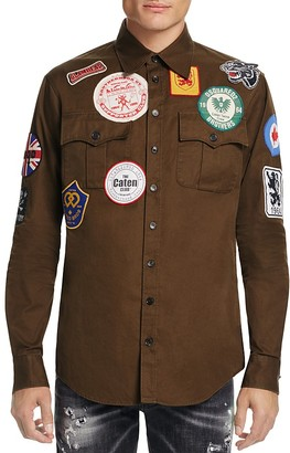 DSQUARED2 Military Patch Slim Fit Shirt Jacket $895 thestylecure.com