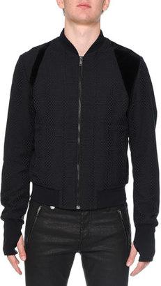 Alexander McQueen Textured Basketweave Bomber Jacket, Navy $1,685 thestylecure.com