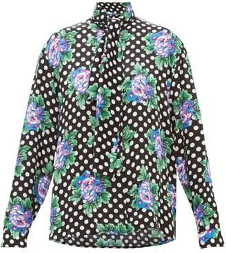 Balenciaga Floral And Polka Dot Print Silk Blouse - Womens - Black Print