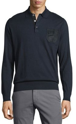 Brioni Long-Sleeve Button-Front Pullover, Blue Solid $1,815 thestylecure.com