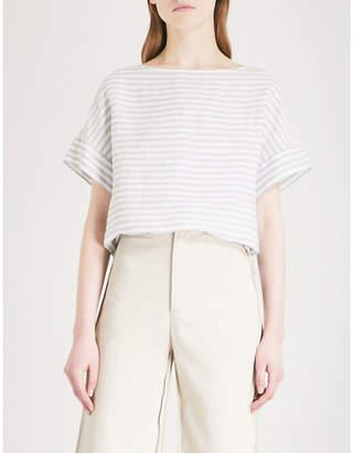 The White Company Striped boat-neck linen T-shirt