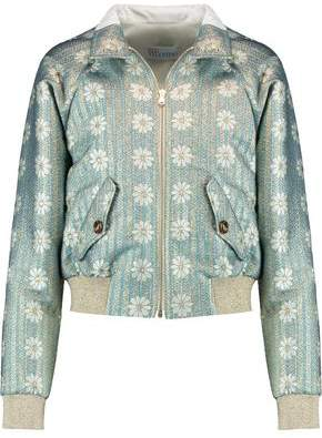 RED Valentino Metallic Brocade Bomber Jacket