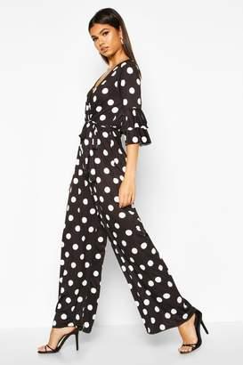 boohoo Ruffle Sleeve Polka Dot Culotte Jumpsuit