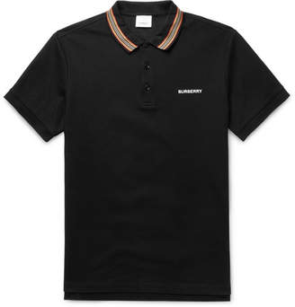 Burberry Contrast-Tipped Cotton-Pique Polo Shirt - Men - Black